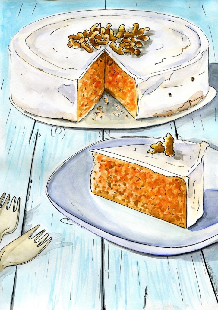 ciasto dyniowe rysunek akwarelowy