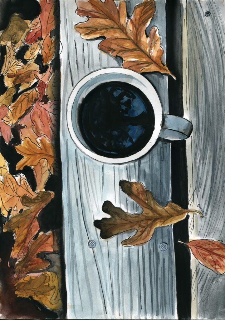 kawa-w-jesienny-poranek-ilustracja-akwarela