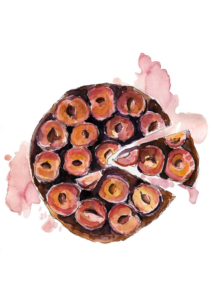 ciasto-śliwki-ilustracja-akwarela-food-illustration