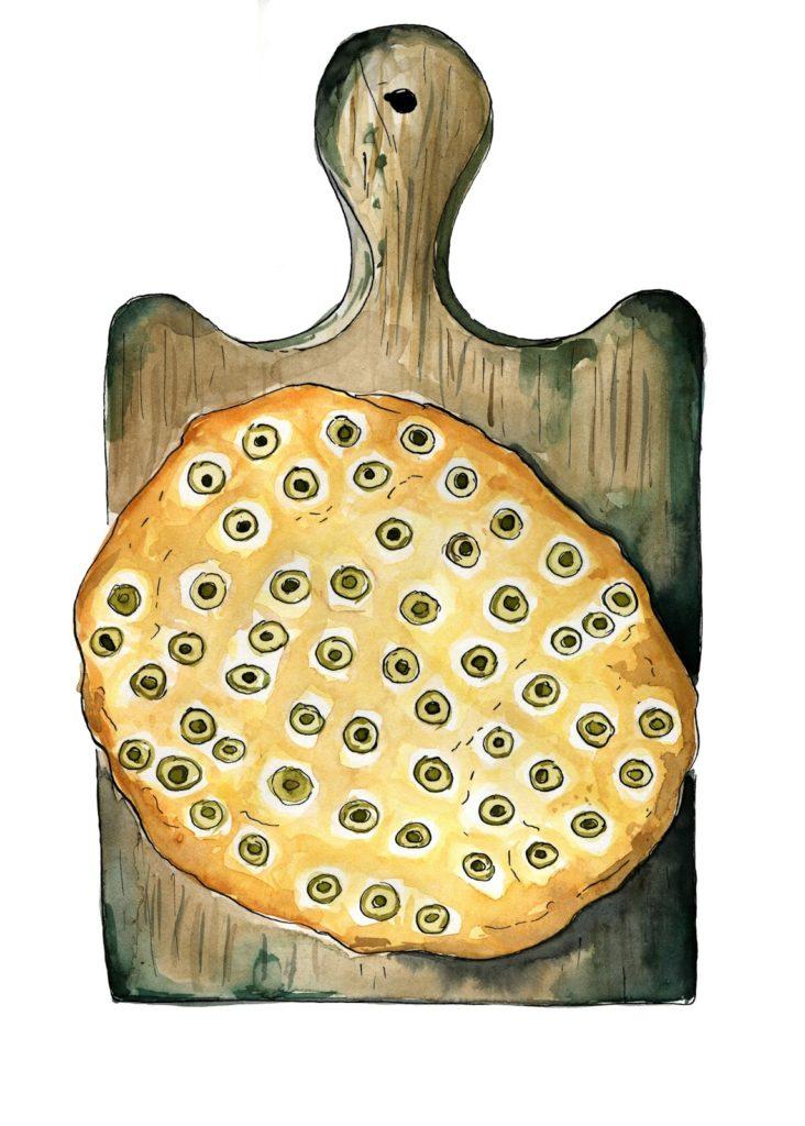 jak-przygotować-focaccia-z-oliwkami-ilustracja