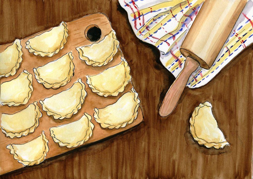 pierogi z kaszą pęczak, suszonymi pomidorami i serem pleśniowym-food-illustration