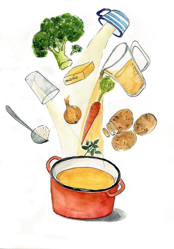 Zupa brokułowo serowa food illustration