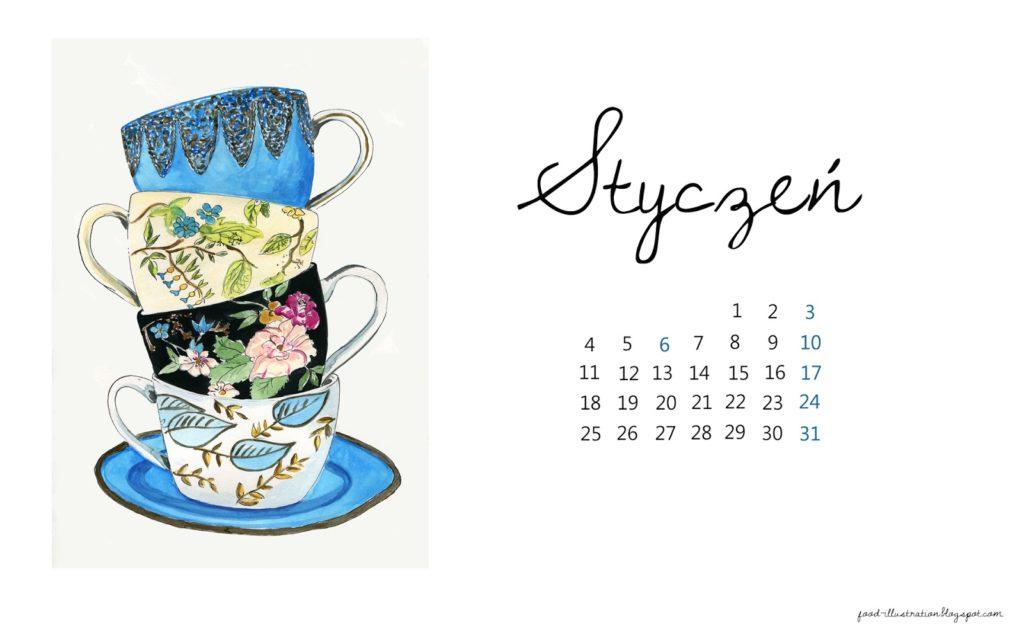 tapeta styczeń 2016 food illustration tea cups